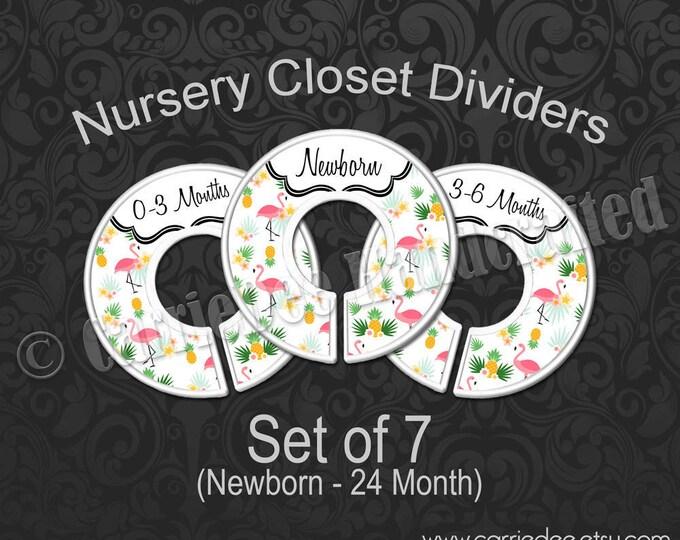 Pink Flamingo Baby Closet Dividers, Flamingo Baby Decor, Nursery Closet Divider, Tropical Flamingo Nursery