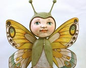 Butterfly Original Hand Painted Folk Art Anthropomorphic Doll Paper Mache Sculpture OOAK