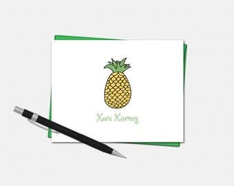 Personalized Note Cards, Pineapple Note Cards, Set of 8, Pineapple Stationery, Personalized Folded Note Cards, Pineapple Stationary