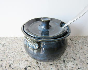 Blue sugar bowl, Jam / Jelly Jar, Honey jar with open slot for spoon and lug handles
