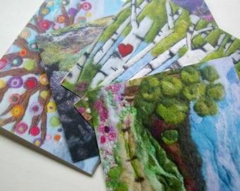 Notecard Set: 'Tall Trees' Reproductions of Original Fiber Art, All Natural (5 cards + envelopes)