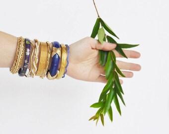 9 Vintage Stacking Bangles - cobalt blue, gold tone enamel cloisonne, metal plastic - wavy twist filigree bracelets