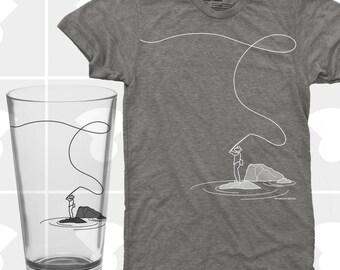 Fly Fishing - TShirt & Pint Glass Set (Men)