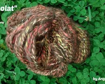 "Handspun angora/mohair yarn, ""Chocolate"", 135 m."