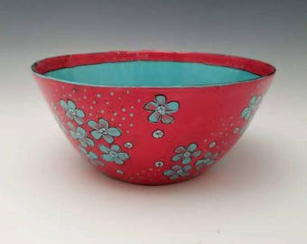 Large Ceramic Serving Bowl Red Bowl Salad Bowl Bright Colorful Fruit Bowl