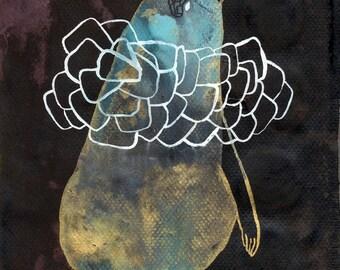 Ruffled Bird / 100 Days Project 2017 / Gouache Original / gouache painting