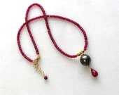 Gorgeous Red Ruby, Tahitian Pearl Necklace in 22kg Vermeil...