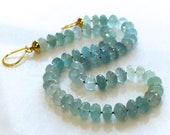 Stunning Natural Aquamarine Essential Layering Necklace in Gold Fill...