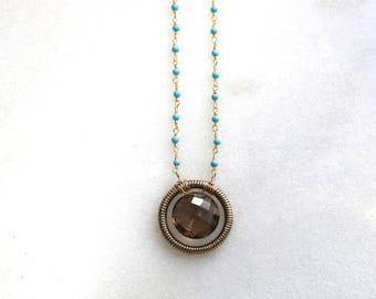 Cocoa Smoky Quartz, Turquoise Hoop Pendant Necklace in 14kg fill...