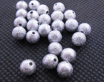 50 Silver Stardust Spacer Beads 6MM Round Silver Tone Metal Aluminum (H8154)