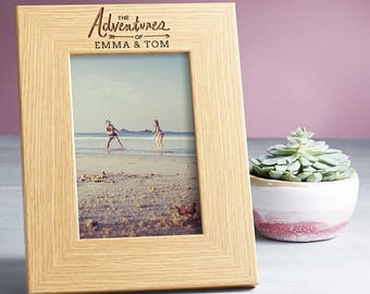 Personalised 'Adventures of' Picture Frame Gifts for Couples Him Her - Personalised Wooden Photo Frame / Picture Frame