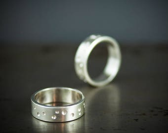 Alternative Wedding Bands - His and Hers Wedding Rings - Brushed Silver Ring Set - Modern Wedding Rings
