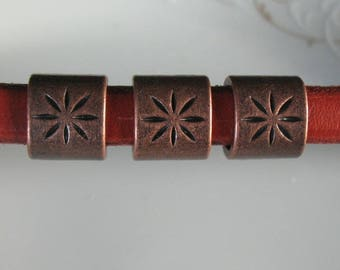 Bronze licorice leather bracelet spacer slider-flower slider leather-jewelry supplies-Zamak findings-ONE PIECE