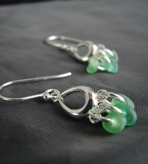 Drench sea glass earrings in vibrant greens