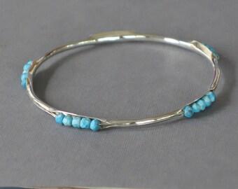 Turquoise Bracelet, Anticlastic Bangle, Turquoise Bangle, Blue Bracelet, December Birthstone,
