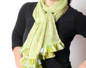 Green ruffled scarf, Lime green knit scarf with fabric ruffles, Long green scarf, Gift for women, MALAM