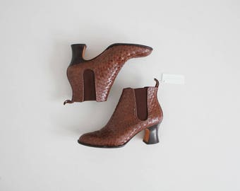 woven leather boots   size 7.5 boots   brown leather ankle boots