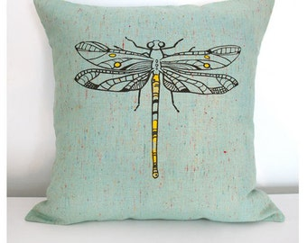 Dragonfly Pillow Cover 16 x 16 Inch Dragonfly Screenprint on Green
