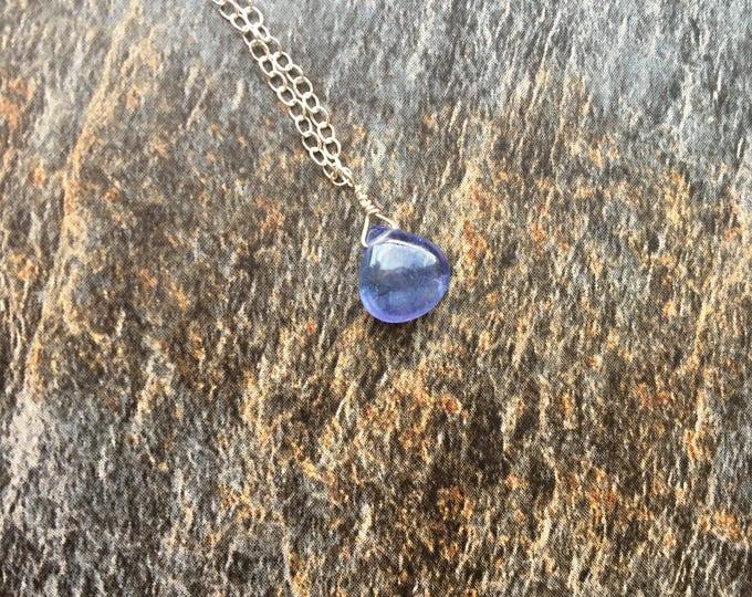 Purple Tanzanite Gemstone Littles Necklace Minimalist Delicate Dainty Healing Chakra Energy Gemstones Inspirational Gift