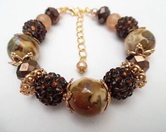 Brown Bracelet, Fall Jewelry, Autumn, Chocolate Brown Jewelry, Chunky Beaded Bracelet, Single Strand Bracelet, Mother Of The Bride Bracelet
