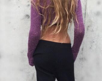 Lavender Croptop, purple sweater, crop sweater, thumbhole sweater, yogo ballet top