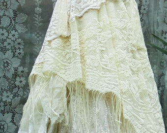 Ivory lace dress wedding crochet ringe  tiered  tulle  boho  bride outdoor  romantic small medium by vintage opulence on Etsy
