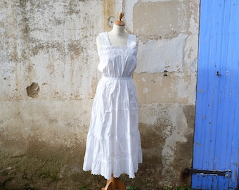 Vintage Antique French 1900 Edwardian hand embroidered white cotton dress /underdress /nightgown size S