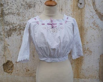 Victorian 1890/1900s French handmade white cotton embroidered  blouse CACHE CORSET size XS/S