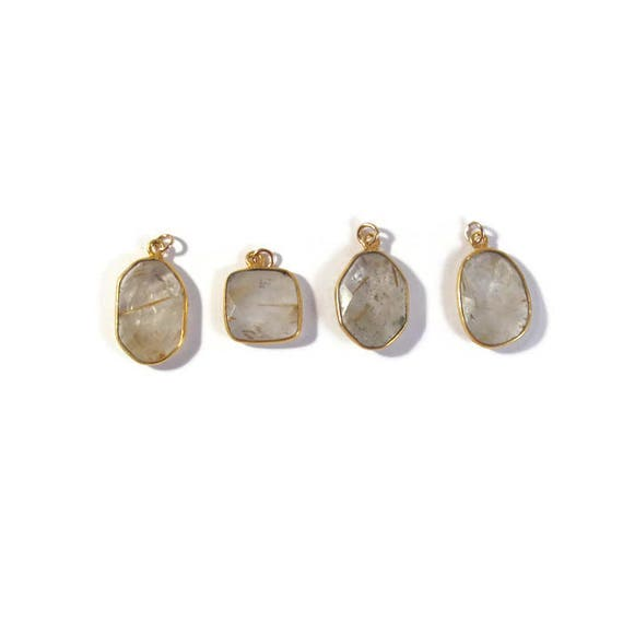 One Gemstone Charm, Gold Rutile Quartz Pendant, Natural Gemstone, Jewelry Supplies (C-Qu4b)