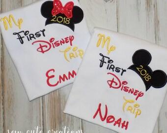 My First Disney Trip Shirt, My Second Disney Trip shirt, Boy Mouse shirt, Boy Mouse ears shirt, Girl mouse shirt, sew cute creations