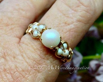 Swarovski Crystal Pearl Ring, Pearlescent White Pearl, Handmade Wire Wrapped Ring, Unique Engagement Anniversary Birthday, June Birthstone