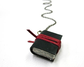 Black Leather book necklaces, Book pendant, leather journal, jewelry, mini diary, miniature journal, hand made, paper goods