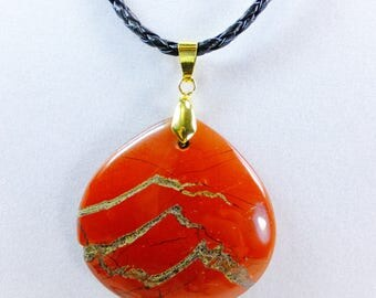 Red Jasper Stone Pendant on a Braided Leather Cord Unisex Necklace