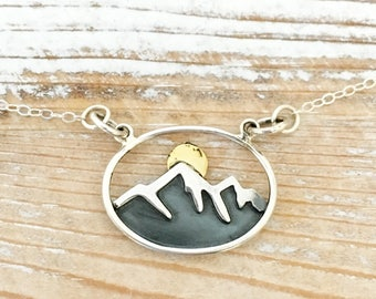 Mountain range necklace - snowy mountain with sun - nature jewelry - gift for her, hiking, ski, outdoor wedding - sterling silver, bronze -