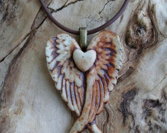 Rustic Winged Porcelain Heart Pendant, Remembrance