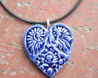 Cobalt Blue Victorian Heart Porcelain Pendant