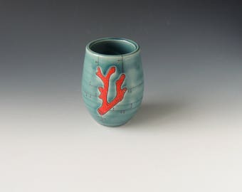 Coral Clay Wine Tumbler - turquoise porcelain ceramic cup with red coral and decals - wheel thrown handmade pottery