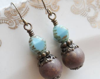 50% Off Clearance Sale, Bo-ho Dreaming Earrings, Czech Pressed Glass, Vintage Bead, Picasso Finish, Brown, Turquoise Blue