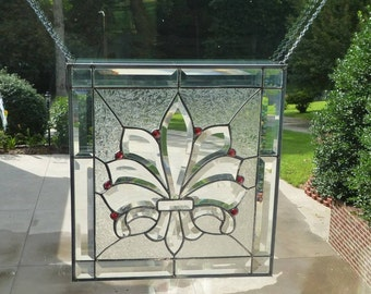 Deluxe Fleur de lis Stained Glass & Beveled Window PANEL