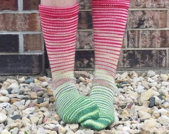 Watermelon Gradient Striped Matching Socks Set Yarn, dyed to order - pick your size, pick your yarn base