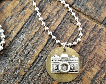 Camera pendant - mixed metals camera necklace - ball chain