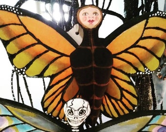 Monarch Faerie Ornament Anthropomorphic Hand Painted Art Doll Soft sculpture Cute Art Doll Made By Tessimal