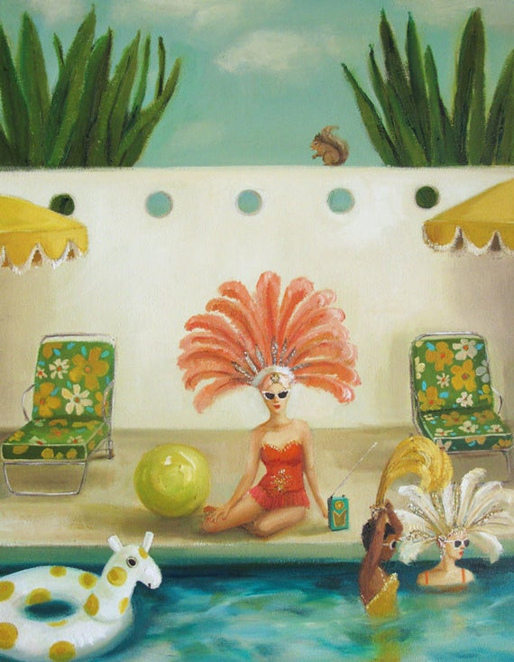 Poolside. Art Print