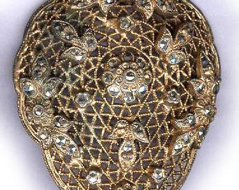 vintage art deco MARCASITE FINDING mesh design with ORNATENESS easy to attach bridal finding old metal and marcasite connector