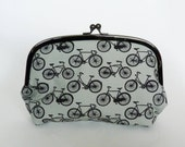 Cosmetic bag, bike fabric, grey and black cotton bicycle design, cotton pouch, pencil case, makeup bag, travel bag, handbag organiser