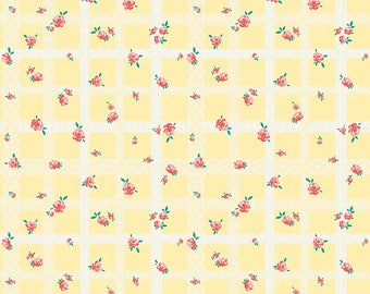 Yellow Bunnies Lace - Bunnies & Blossoms collection by Lauren Nash for Penny Rose Fabrics - 100% cotton quilting fabric by the yard