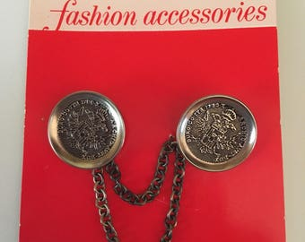 Vintage LeChic Fashion Accessories Silver Sweater Buttons with Chain New on Card