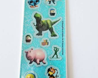 Vtg Sandylion Disney Pixar Toy Story Characters Sticker Strip NIP Hamm pig Rex Dinosour MOC army men slinky dog