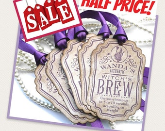 Purple Halloween Tags - Wanda's Witch's Brew Wine Bottle Labels - Set of 5