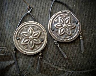 Kuchi Earrings, Banjara Jewelry, Flowers, Coral, Pearls, Vintage, Unique, Organic, Primitive, Stamping, Recycled, Beaded Earrings